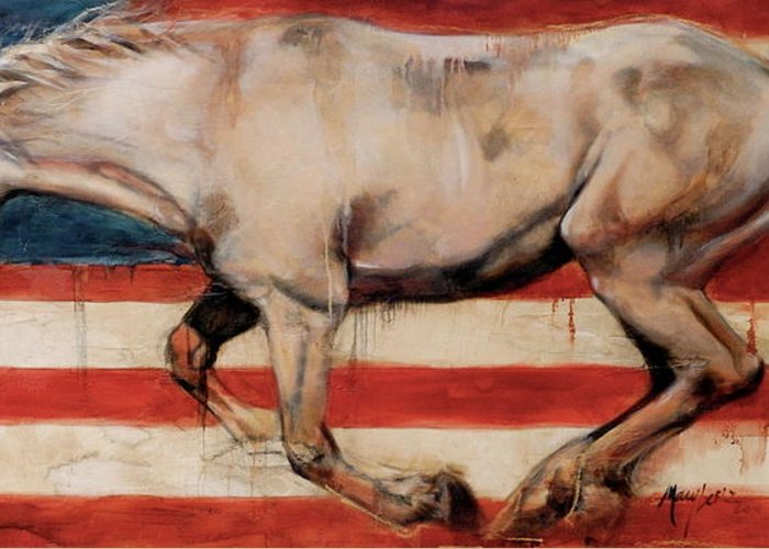 Flag Horse Greeting Card featuring the painting Let Freedom Run by Mary Leslie