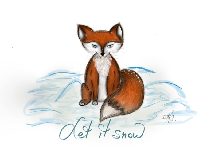 Fox Greeting Card featuring the digital art Let It Snow by Hellen Shapiro