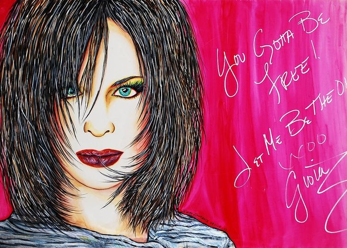 Autographed Greeting Card featuring the mixed media Let Me B Free And The One by Joseph Lawrence Vasile
