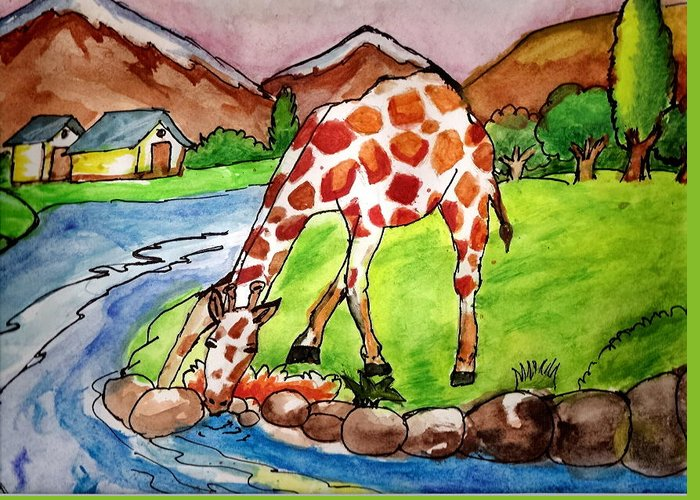 Landscape Greeting Card featuring the painting Let Me Drink by Archit Singh