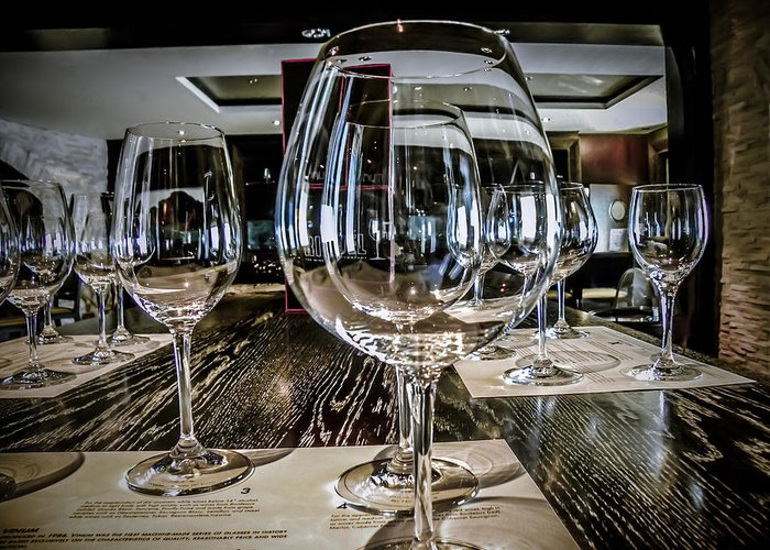 Wine Glasses Greeting Card featuring the photograph Let The Wine Tasting Begin by Julie Palencia
