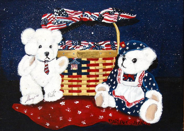 Teddy Bears Greeting Card featuring the painting Let Us Celebrate by Darlene Green