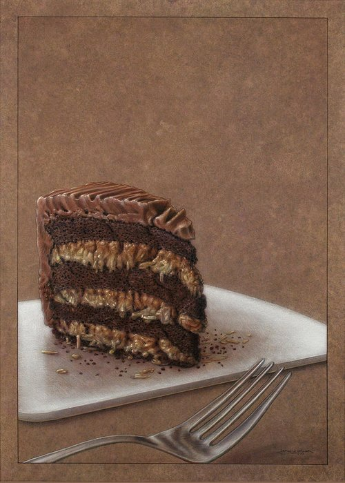Chocolate Greeting Card featuring the painting Let Us Eat Cake by James W Johnson