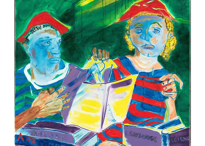 Books Greeting Card featuring the painting Let Us Put Our Thinking Caps On And Go Study In The Library by Red Jordan Arobateau