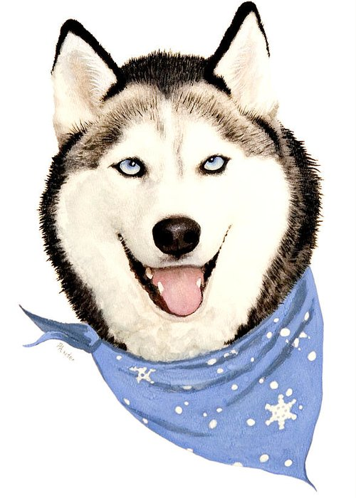Siberian Husky Greeting Card featuring the painting Lets Go by Brent Ander