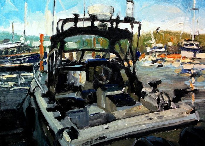 Boat Paintings Greeting Card featuring the painting Lets Go by Brian Simons