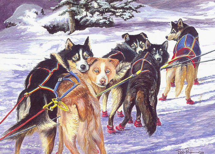 Iditrod Greeting Card featuring the painting Let's Go Musher by Bob Patterson