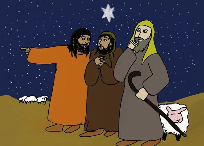 Christmas Greeting Card featuring the digital art Let's Go To Bethlehem by Connie Kottmann