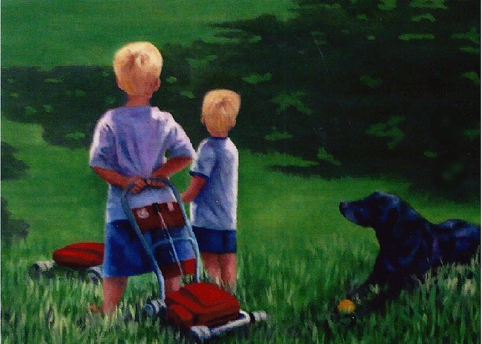 Children Greeting Card featuring the painting Let's Play by Fran Rittenhouse-McLean