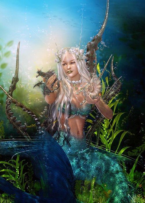 Mermaid Greeting Card featuring the digital art Letting Go by Karen Koski