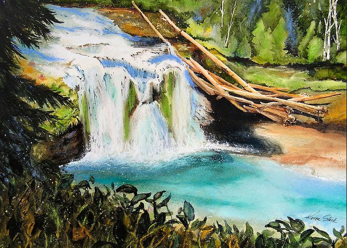 Water Greeting Card featuring the painting Lewis River Falls by Karen Stark
