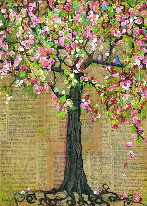 Tree Greeting Card featuring the painting Lexicon Tree Of Life 4 by Blenda Studio