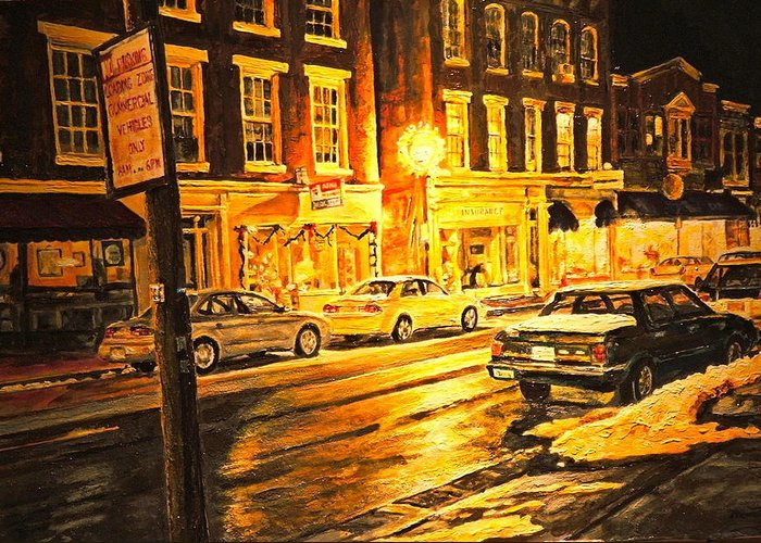 Street Scene Greeting Card featuring the painting Lexington Street Light by Thomas Akers