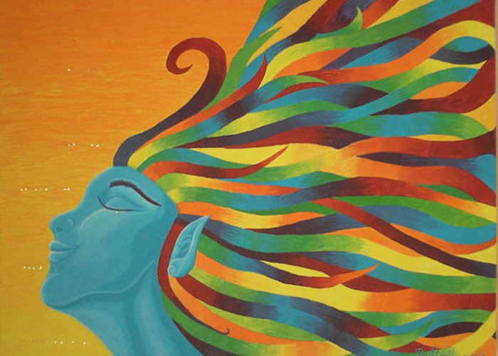 Color Greeting Card featuring the painting Libertad by Emmely Hillewaert