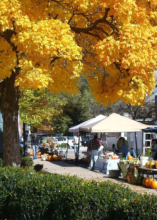 Fall Greeting Card featuring the photograph Liberty Farmers Market by Steve Karol