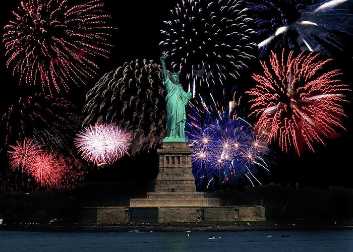 Fireworks Greeting Card featuring the photograph Liberty Fireworks 1 by BuffaloWorks Photography