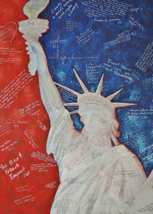 Statue Of Liberty Greeting Card featuring the painting Liberty Is... by Margaret Bobb
