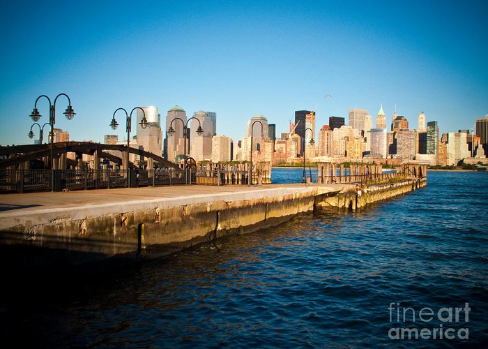 Liberty State Park Greeting Card featuring the photograph Liberty State Park Pier by Valerie Morrison