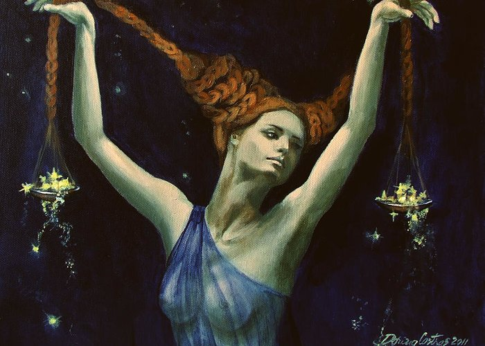 Art Greeting Card featuring the painting Libra From Zodiac Series by Dorina Costras