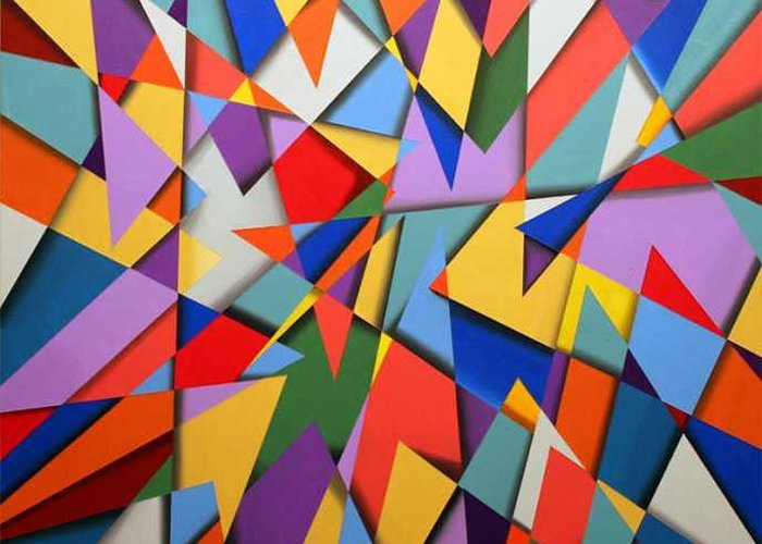 Abstract Based On The New Wing Of The Denver Art Museum Greeting Card featuring the painting Libskind by Marston A Jaquis