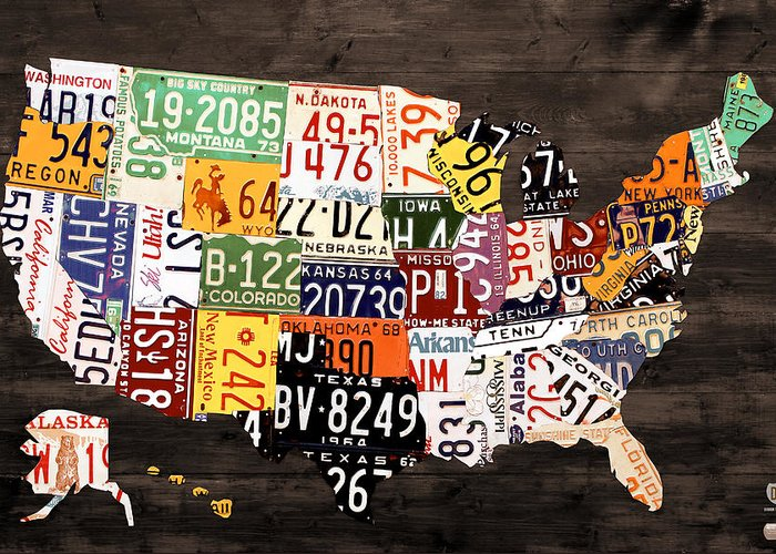 License Plate Map Greeting Card featuring the mixed media License Plate Map Of The United States - Warm Colors / Black Edition by Design Turnpike