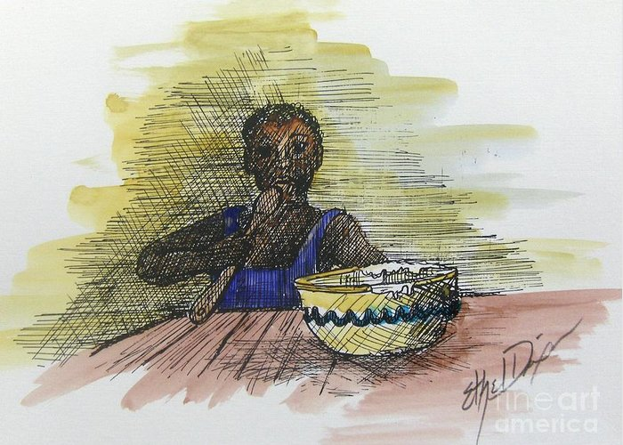 African American Art Greeting Card featuring the painting Licking The Bowl by Ethel Dixon