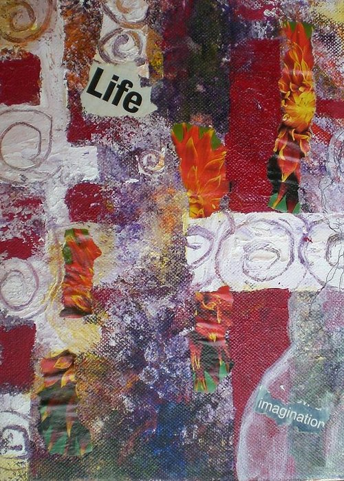 Collage Greeting Card featuring the mixed media Life Cycle by Aleksandra Buha