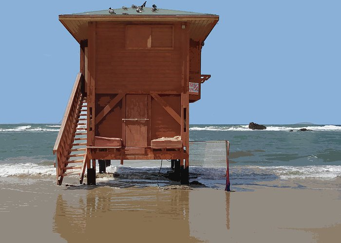 Beach Greeting Card featuring the painting Life Guard Shack At Ocean by Elaine Plesser