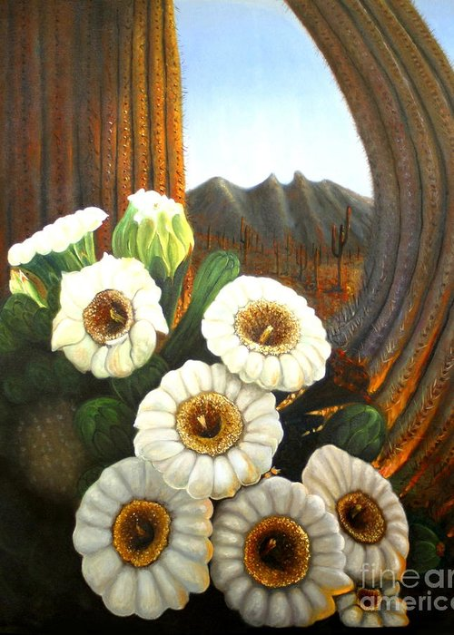 Mexican Art Greeting Card featuring the painting Life In The Desert by Sonia Flores Ruiz