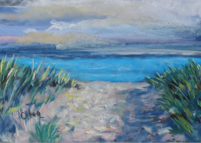 Landscape Greeting Card featuring the painting Life Is A Beach by Cathy Weaver