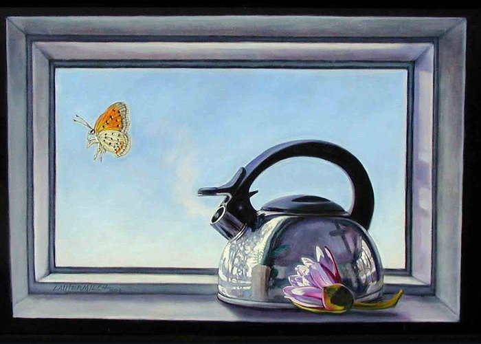 Steam Coming Out Of A Kettle Greeting Card featuring the painting Life Is A Vapor by John Lautermilch