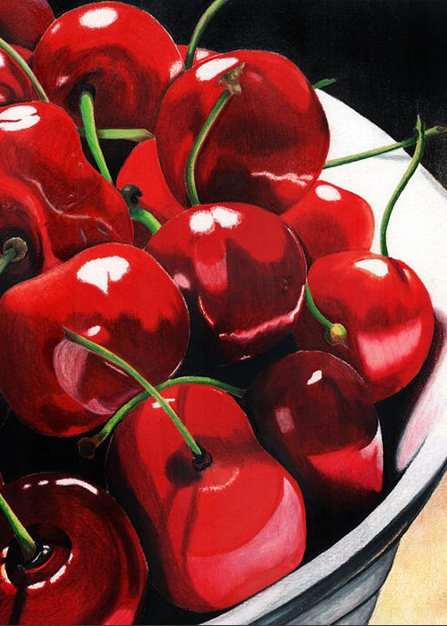 Cherries Greeting Card featuring the painting Life Is.... by Angela Armano