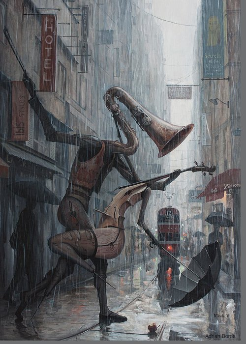 Life Greeting Card featuring the painting Life is dance in the rain by Adrian Borda
