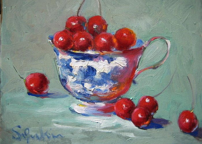 Stilllife Greeting Card featuring the painting Life Is Just A Cup Of Cherry by Susan Jenkins