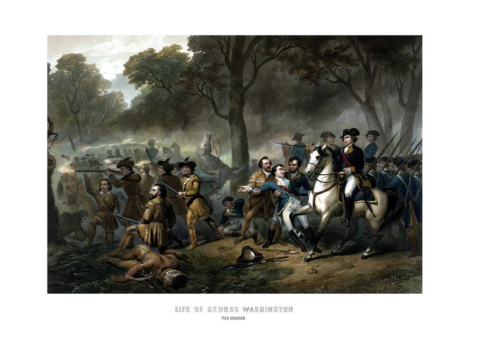 George Washington Greeting Card featuring the painting Life Of George Washington - The Soldier by War Is Hell Store