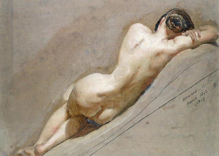 Nude; Back Greeting Card featuring the painting Life Study Of The Female Figure by William Edward Frost