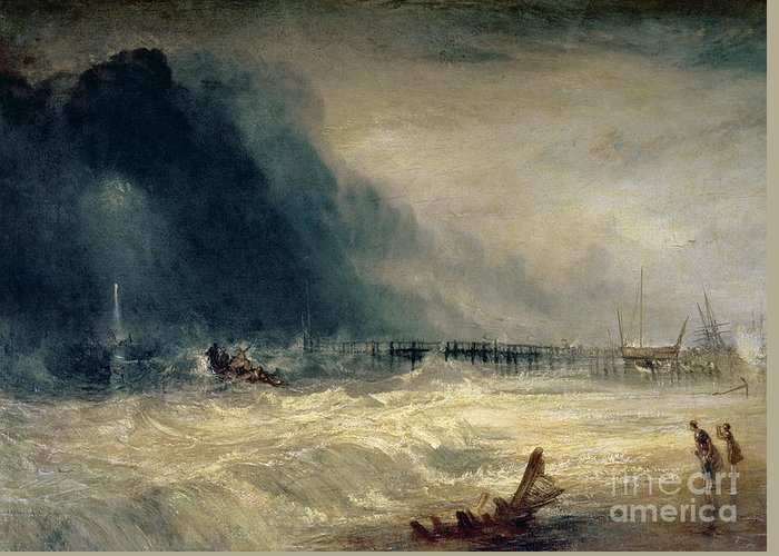 Turner Greeting Card featuring the painting Lifeboat And Manby Apparatus Going Off To A Stranded Vessel Making Signal Of Distress by Joseph Mallord William Turner