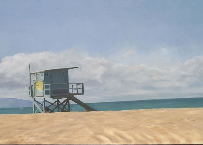 Beach Greeting Card featuring the painting Lifeguard Tower by Merle Keller