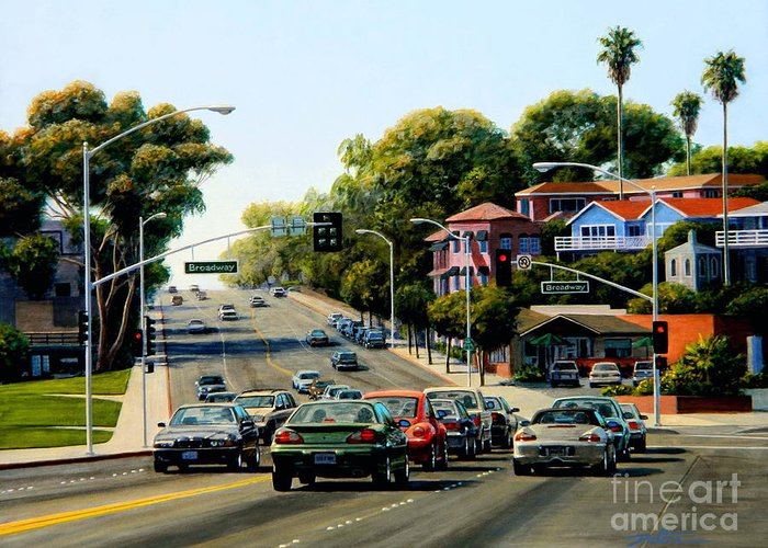 Coast Highway Greeting Card featuring the painting Light At Broadway Laguna by Frank Dalton