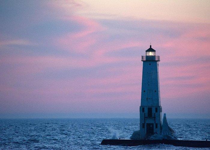 Michigan Greeting Card featuring the photograph Light At Sunset by Linda Kerkau