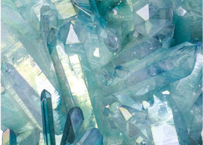 Sparkling Light Blue Crystal Shards Greeting Card featuring the photograph Light Blue Crystals by The Quarry
