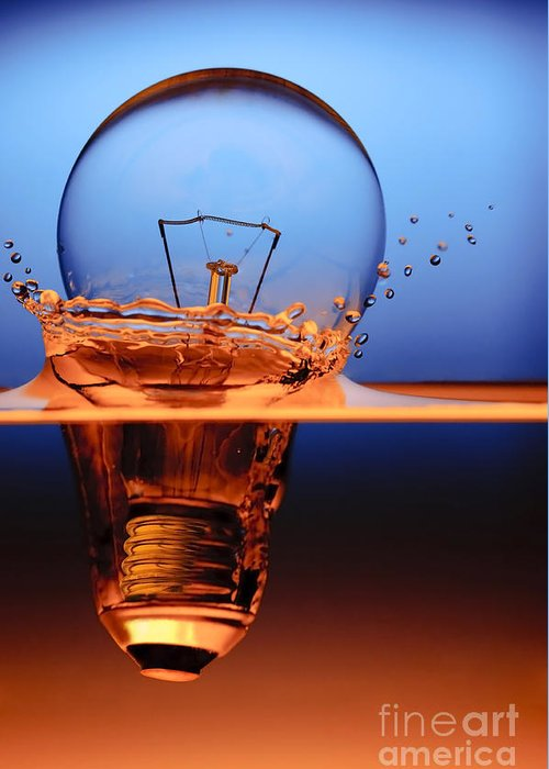 Alternative Greeting Card featuring the photograph Light Bulb And Splash Water by Setsiri Silapasuwanchai