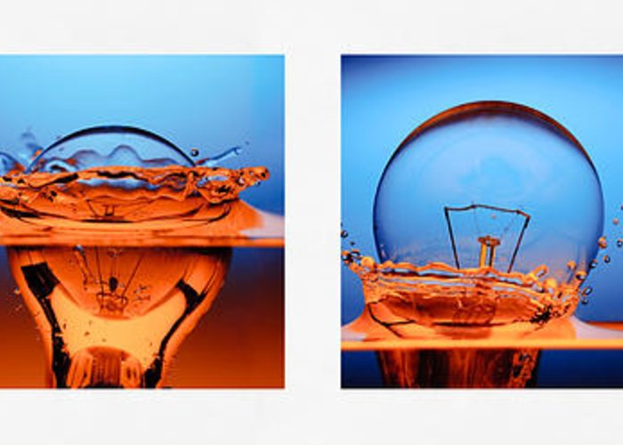 Art Greeting Card featuring the photograph Light Bulb Drop In To The Water by Setsiri Silapasuwanchai