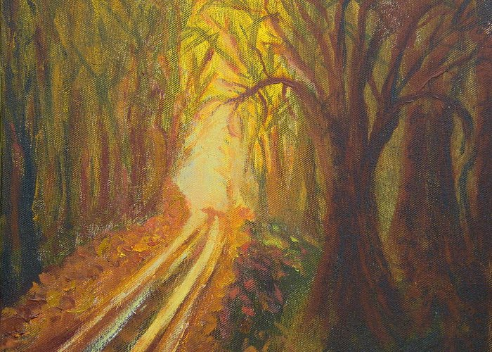 Forest Greeting Card featuring the painting Light Down The Road by Margaret G Calenda