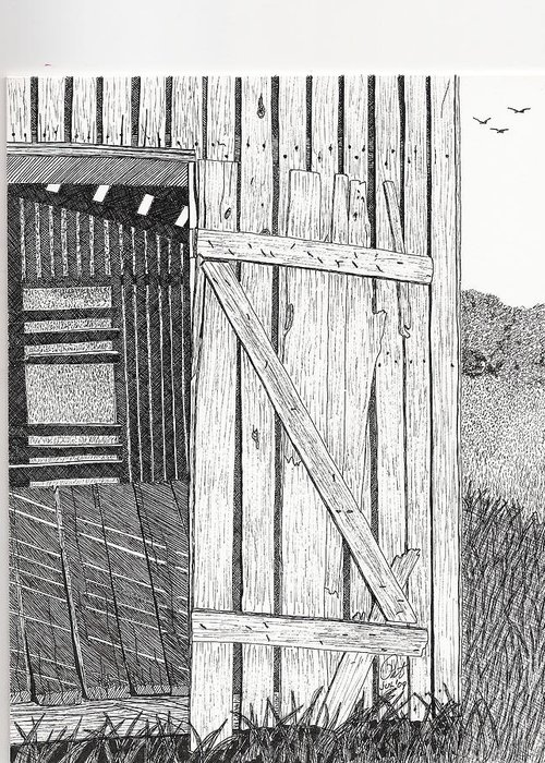 Pen And Ink Greeting Card featuring the drawing Light Filtering Through Shed by Pat Price