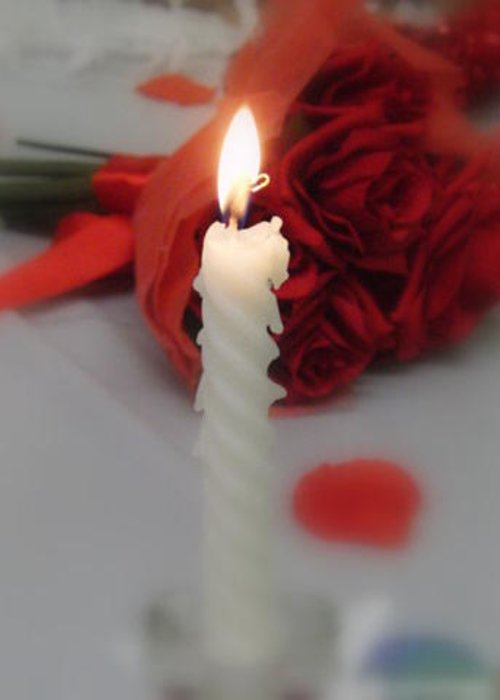 Candle Greeting Card featuring the photograph Light My Rose by Ruthanne McCann