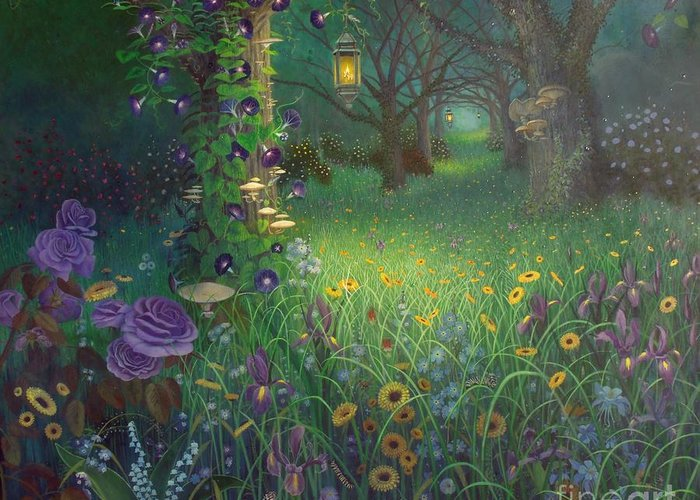Floral Greeting Card featuring the painting Light My Way by Shauna Eggleston
