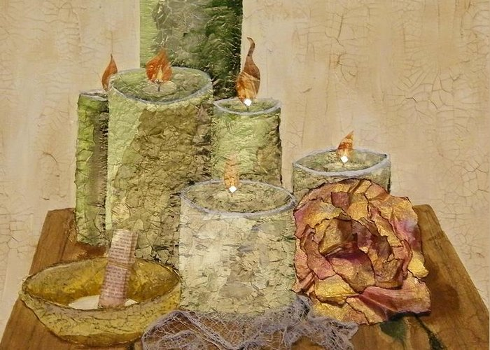 Mixed Media Greeting Card featuring the painting Light My Way by Terry Honstead