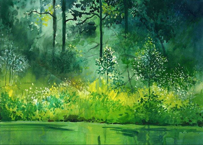 Water Greeting Card featuring the painting Light N Greens by Anil Nene