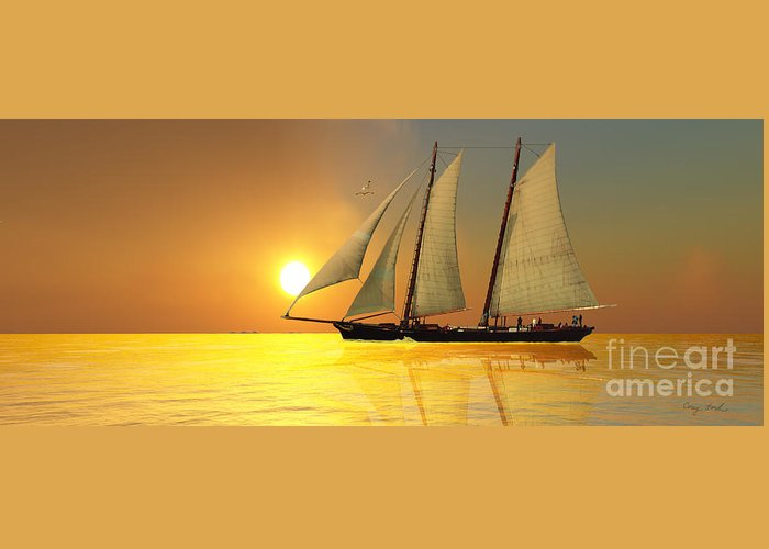 Sailing Greeting Card featuring the painting Light Of Life by Corey Ford